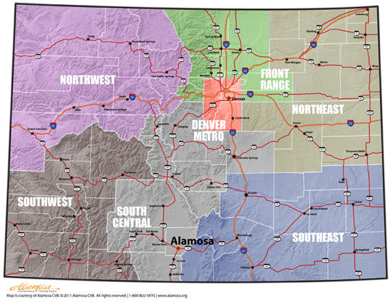Colorado Map Highlighting Alamosa